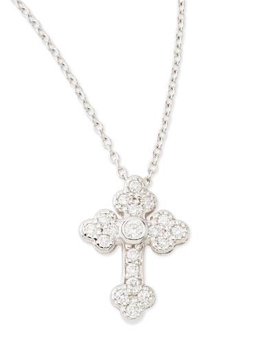 JudeFrances Jewelry Tiny White Diamond Guinevere Cross Necklace