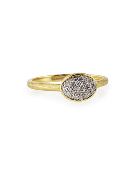 18k Gold Pave Diamond Oval Stackable Ring