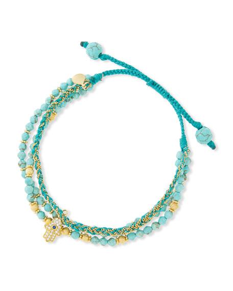 3-Strand Turquoise Beaded Bracelet with Hamsa Charm