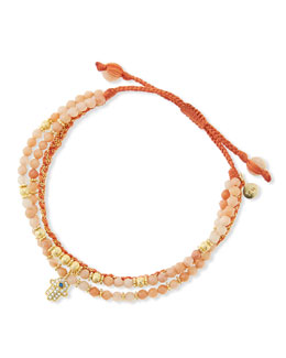 Tai 3-Strand Rose Beaded Bracelet with Hamsa Charm