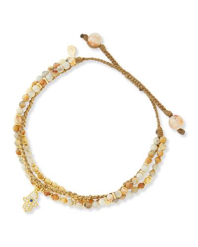 Tai 3-Strand Sand Beaded Bracelet with Hamsa Charm