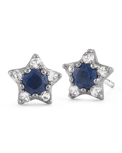Elizabeth and James Bassa Blue Sapphire Star Stud Earrings