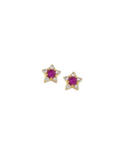 Elizabeth and James Bassa Ruby Star Stud Earrings