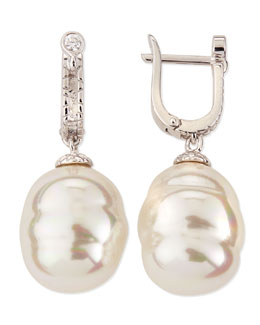 Majorica 14mm White Baroque Pearl Drop Earrings