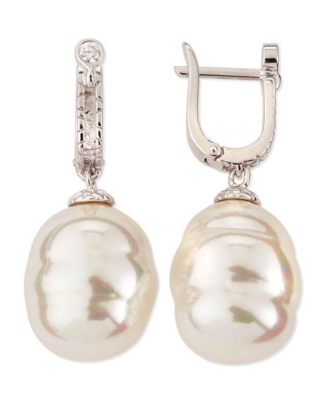 14mm White Baroque Pearl Drop Earrings
