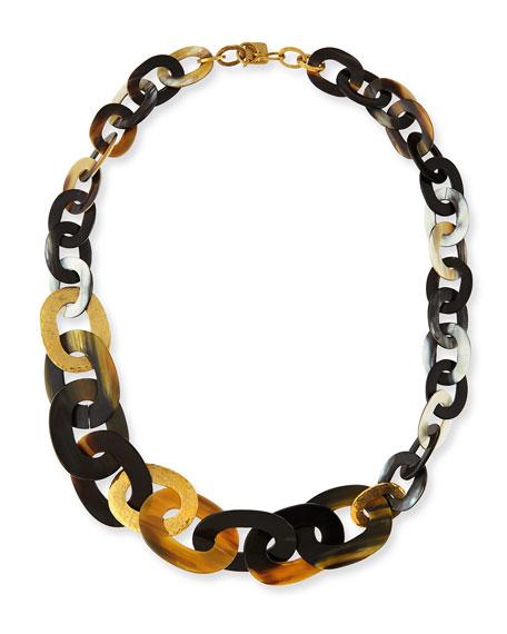 Ashley Pittman Laini Mixed Horn & Bronze Necklace