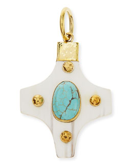 Ashley Pittman Kasha Pendant with Turquoise, Light Horn