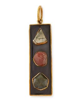 Ashley Pittman Ardhi Multi-Stone Pendant, Dark Horn