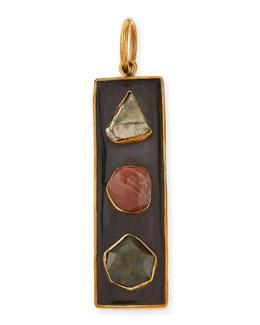 Ashley Pittman Ardhi Multi-Stone Pendant, Dark Horn