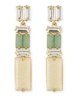 kate spade new york linear crystal/wood drop earrings