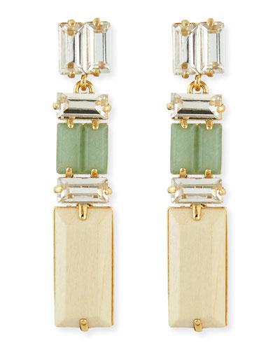 kate spade new york linear crystal/wood drop earrings