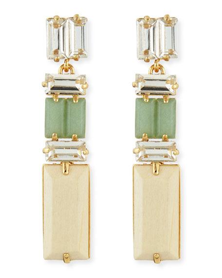 linear crystal/wood drop earrings