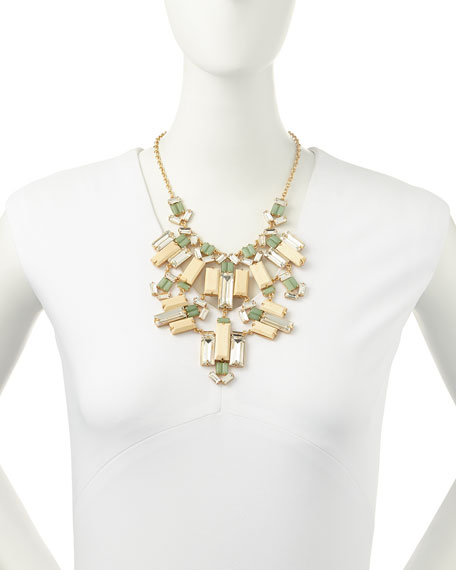 crystal/wood statement bib necklace