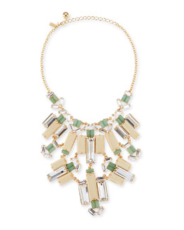 kate spade new york crystal/wood statement bib necklace
