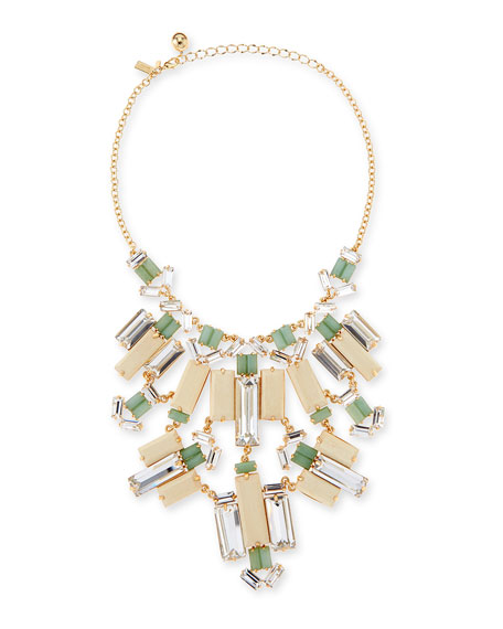 crystal/wood statement bib necklace