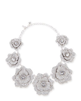 kate spade new york rose garden pave crystal necklace, silvertone