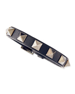 Valentino Small Rockstud Leather Buckled Bracelet, Navy