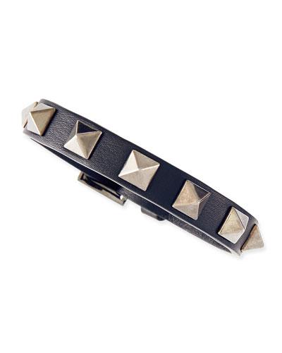 Valentino Small Rockstud Leather Buckled Bracelet, Navy