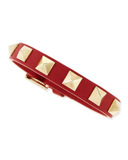 Valentino Small Rockstud Leather Buckled Bracelet, Red