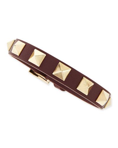 Valentino Small Rockstud Leather Buckled Bracelet, Wine