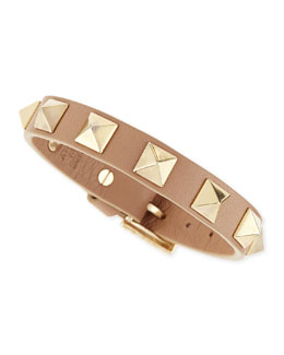 Valentino Small Rockstud Leather Bracelet, Camel