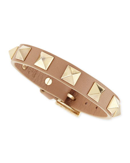 Small Rockstud Leather Bracelet, Camel