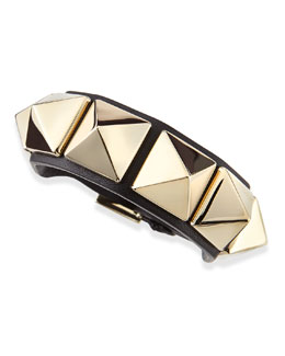Valentino Medium Rockstud Leather Bracelet, Black/Platino