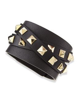 Valentino Multi-Wrap Rockstud Leather Bracelet, Black/Platino