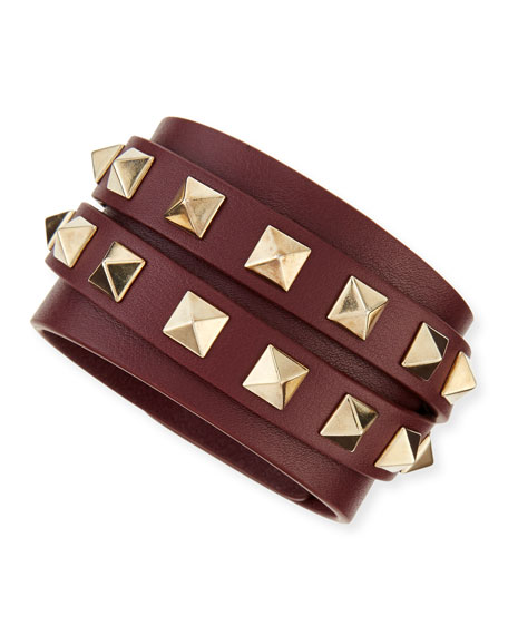 Valentino Multi-Wrap Rockstud Leather Bracelet, Wine/Platino