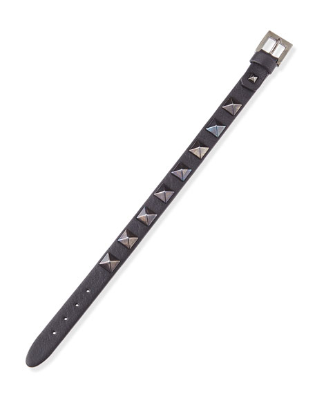 Small Rockstud Noir Leather Buckled Bracelet, Black
