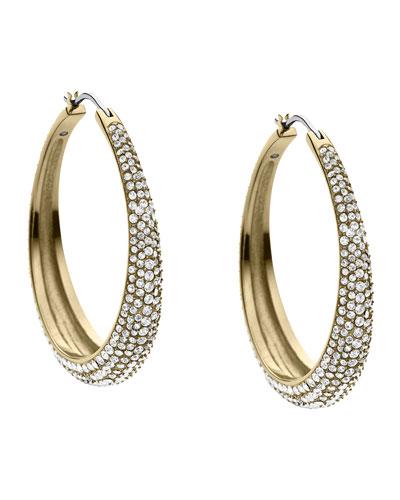 Michael Kors  Pave Hoop Earrings, Golden