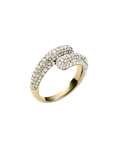 Pave Bypass Ring, Golden