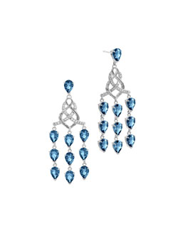 John Hardy Batu Classic Chain Silver Chandelier Earrings with London Blue Topaz