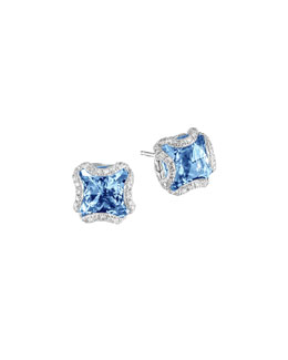 John Hardy Batu Classic Chain Silver Square Stud Earrings with London Blue Topaz