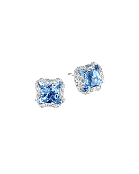Batu Classic Chain Silver Square Stud Earrings with London Blue Topaz
