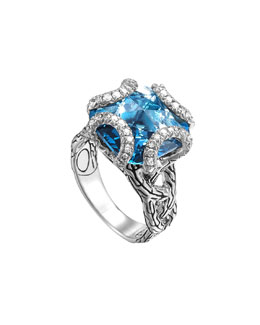 John Hardy Batu Classic Chain Silver Medium Braided Ring with London Blue Topaz , Size 7