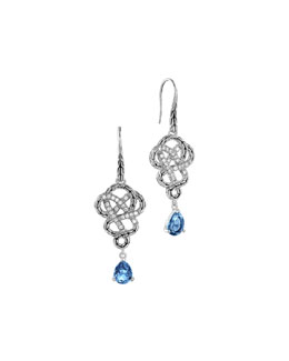 John Hardy Batu Classic Chain Silver Drop Braided Earrings with London Blue Topaz