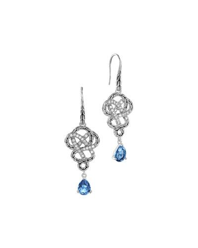 John Hardy Batu Classic Chain Silver Drop Braided Earrings with London Blue Topaz
