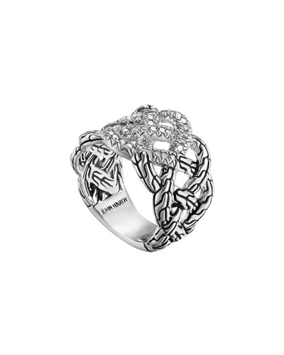 John Hardy Classic Chain Silver Diamond Pave Band Woven Braided Ring, Size 7