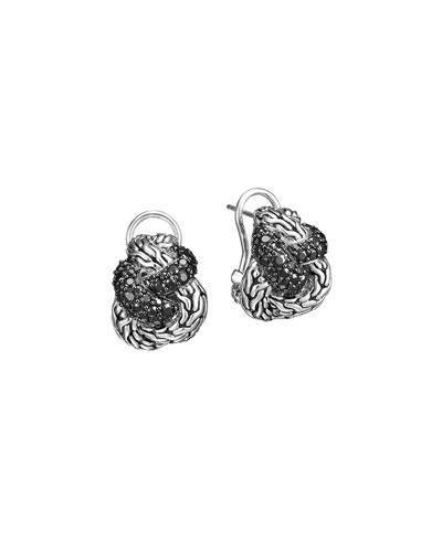 John Hardy Classic Chain Silver Lava Braided Buddha Belly Earrings with Black Sapphire