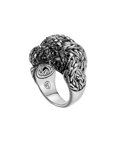 John Hardy Classic Chain Silver Lava Large Braided Ring with Black Sapphire, Size 7