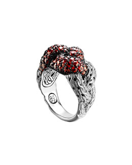 John Hardy Classic Chain Silver Lava Large Braided Ring with Red Sapphire, Size 7