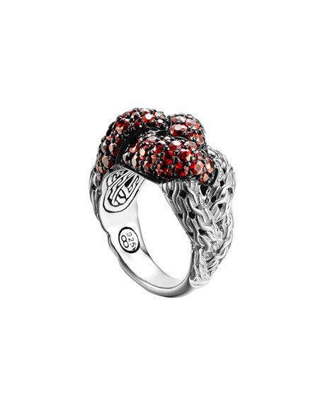 Classic Chain Silver Lava Large Braided Ring with Red Sapphire, Size 7