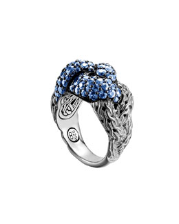 John Hardy Classic Chain Silver Lava Large Braided Ring with Blue Sapphire, Size 7