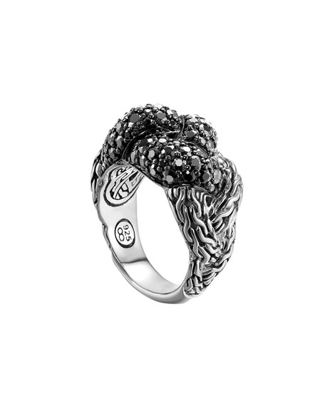 Classic Chain Silver Lava Large Braided Ring with Black Sapphire, Size 7