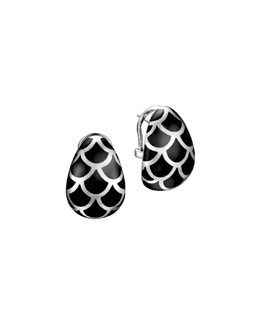 John Hardy Naga Silver Enamel Buddha Belly Earrings with Black Enamel
