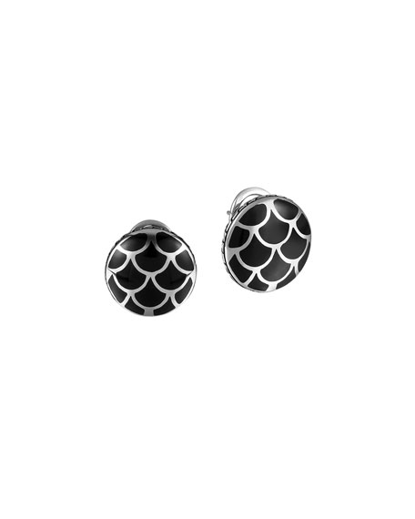 John Hardy Naga Silver Button Earrings with Black