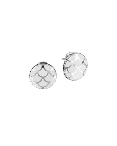 John Hardy Naga Silver Button Earrings with White Enamel