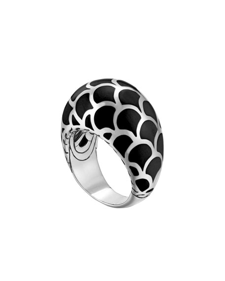 Naga Silver Enamel Dome Ring with Black Enamel, Size 7