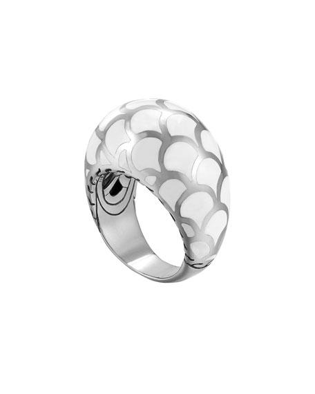 Naga Silver Enamel Dome Ring with White Enamel, Size 7